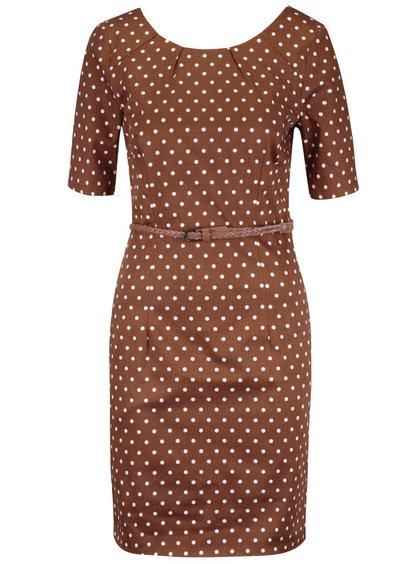 Hnedé bodkované šaty s opaskom VERO MODA Kaya