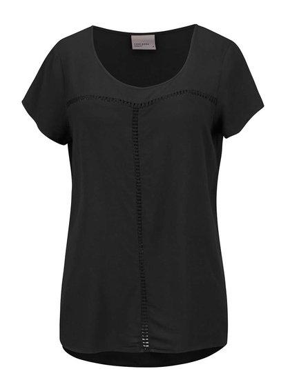 Čierna voľnejšia blúzka s krátkym rukávom Vero Moda Tee