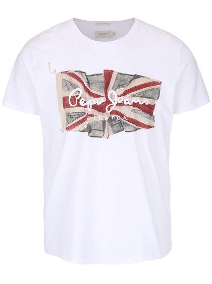 Bílé pánské triko s potiskem Pepe Jeans Flag logo