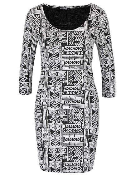 Čierno-krémové vzorované šaty s 3/4 rukávom Haily´s