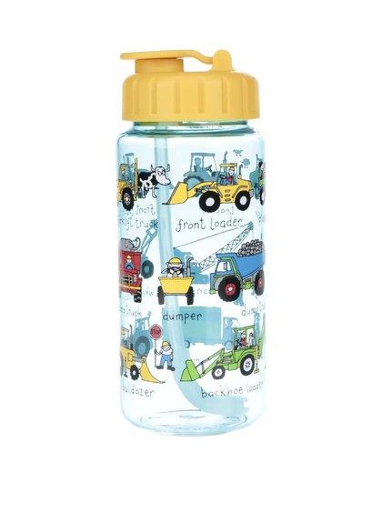 Žlto-modrá chlapčenská fľaša na pitie Tyrrell Katz Working Wheels