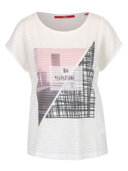 Krémové dámske ľahké tričko s potlačou s.Oliver