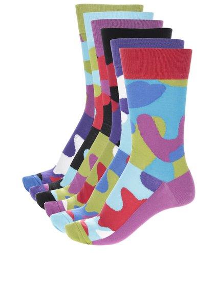 Kolekcia šiestich pánskych farebných ponožiek s maskáčovým vzorom Oddsocks Camo