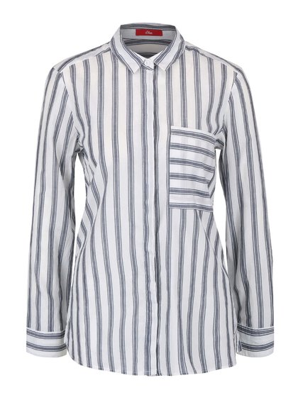 Sivo-krémová dámska košeľa s prúžkami s.Oliver