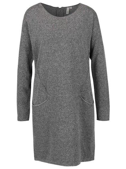 Sivé dámske melírované svetrové šaty s vreckami QS by s.Oliver