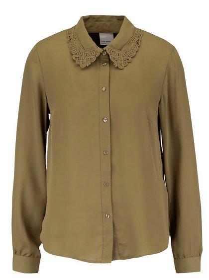 Khaki volnější halenka s krajkovaným límečkem Vero Moda Lennie