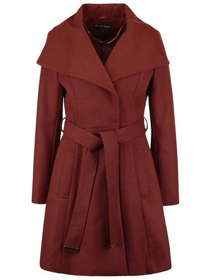 Palton roșu cărămiziu Miss Selfridge cu revere ample