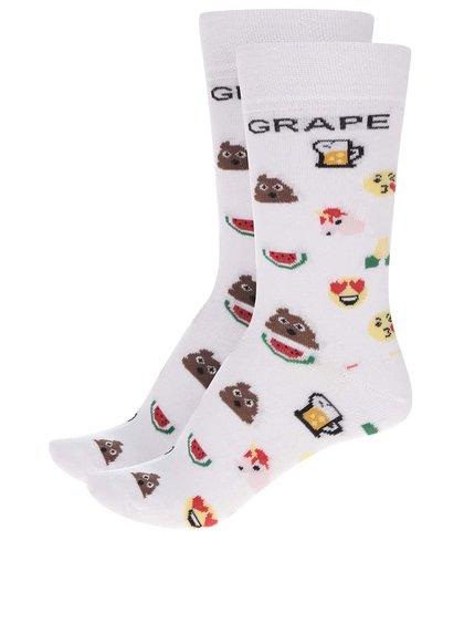 Súprava dvoch párov bielych unisex ponožiek s motívom emotikonov Grape