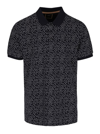 Tmavě modré vzorované polo triko Burton Menswear London
