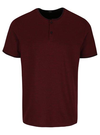 Vínové tričko s gombíkmi Burton Menswear London