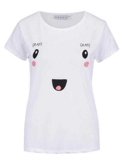 Biele dámske tričko s potlačou Grape