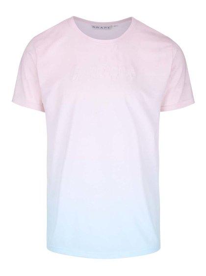 Mentolovo-ružové pánske tričko s plastickým nápisom Grape