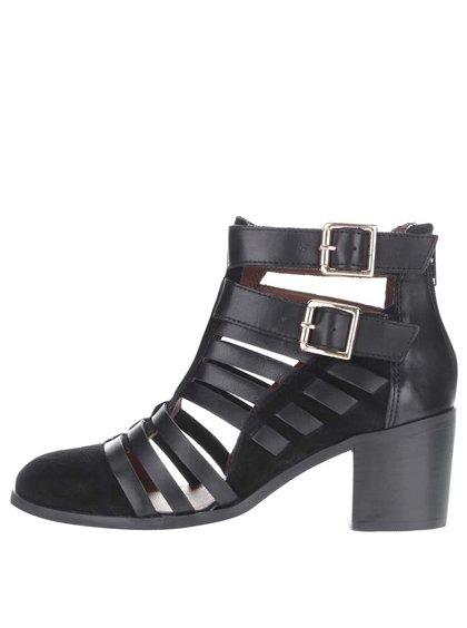 Černé kožené páskové kotníkové boty na podpatku Miss Selfridge