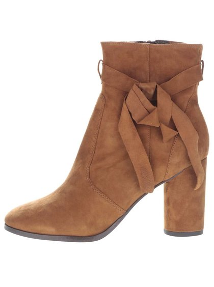 Botine maro Miss Selfridge cu toc gros
