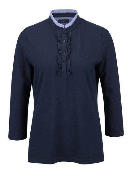 Tmavomodrá dámske tričko s nízkym stojačikom GANT
