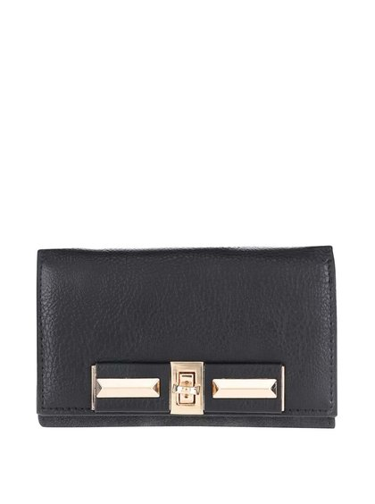 Čierna peňaženka s detailmi v zlatej farbe Pieces Penriette