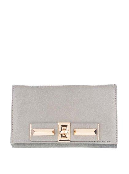 Sivá peňaženka s detailmi v zlatej farbe Pieces Penriette