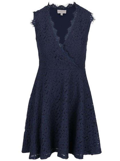 Tmavě modré krajkované šaty s překládaným výstřihem Apricot