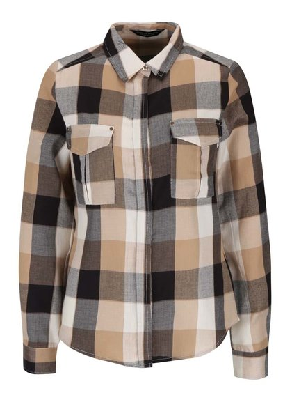 Černo-hnědá kostkovaná košile Dorothy Perkins