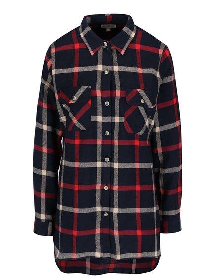 Červeno-modrá voľná károvaná košeľa Apricot