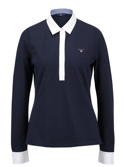 Tmavě modré dámské polo tričko s dlouhým rukávem GANT