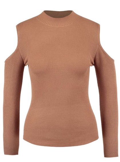 Svetlohnedý rebrovaný sveter s odhalenými ramenami Miss Selfridge