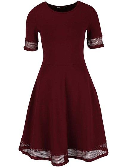 Vínové šaty s krajkovými lemy Dorothy Perkins