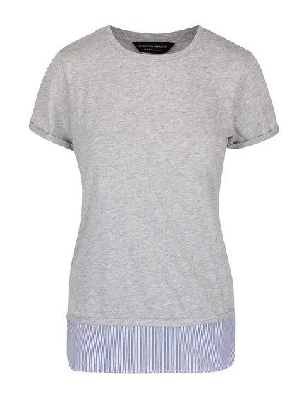 Šedé delší tričko s pruhovaným lemem Dorothy Perkins
