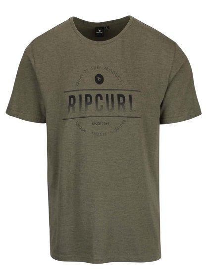Olivovozelené pánske tričko s potlačou Rip Curl Rounded SS Tee