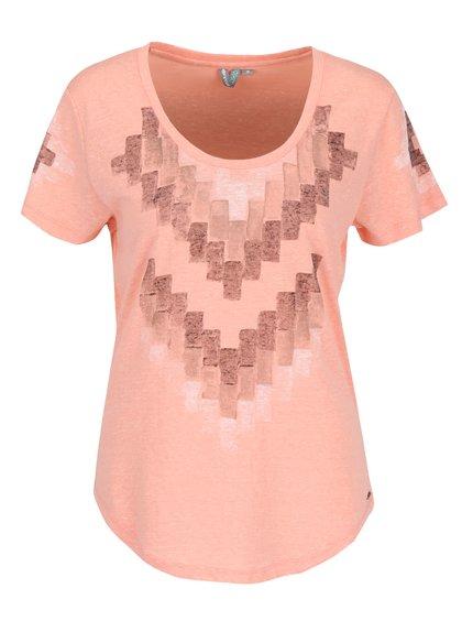 Marhuľové dámske melírované tričko s potlačou Rip Curl Pucon