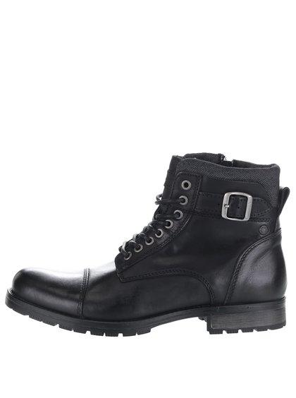 Čierne kožené členkové topánky s prackami Jack & Jones Bany