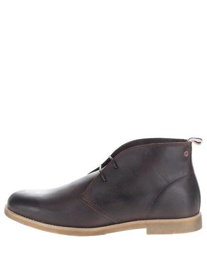 Hnědé kožené kotníkové boty Jack & Jones Walpha