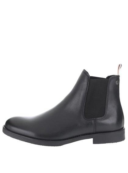 Černé kožené kotníkové chelsea boty Jack & Jones Paul