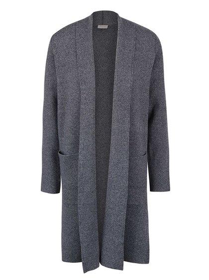 Tmavě šedý žíhaný dlouhý cardigan VILA Olympa