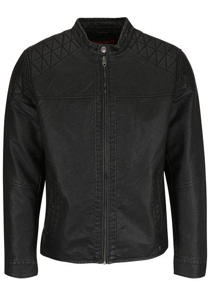 Jachetă neagră Jack & Jones Ben din piele sintetică