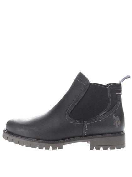 Čierne dámske kožené členkové topánky U.S. Polo Assn. Petra