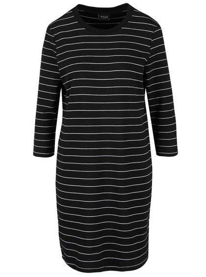 Černé pruhované šaty s 3/4 rukávy VILA Tinny