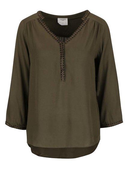 Zelená bluzka s 3/4 rukávmi VERO MODA Charlotte