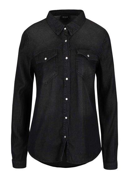 Čierna rifľová košeľa s dlhým rukávom VILA Bista