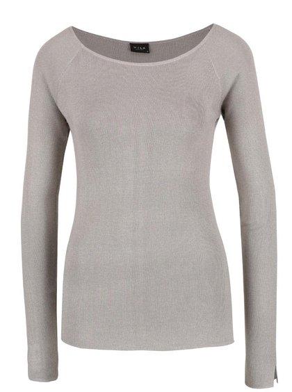 Světle šedý lehký svetr s rozparky VILA Helena