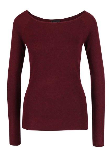 Vínový ľahký sveter s rozparkami VILA Helena