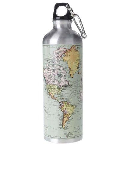 Fľaša na vodu v strieborno-zelenej farbe Gift Republic
