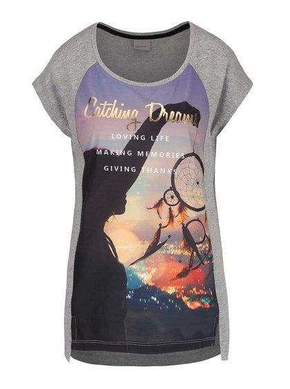 Svetlosivé melírované tričko s potlačou Vero Moda Nanna