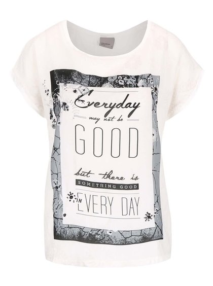 Krémové tričko s potiskem VERO MODA Sia