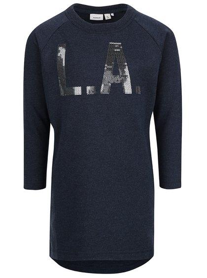 Bluză cu imprimeu cu paiete name it Kalinka bleumarin