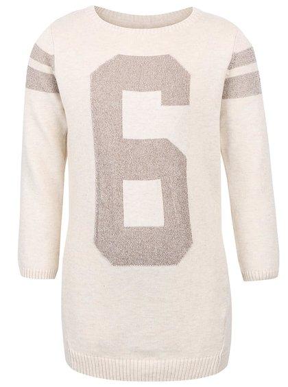 Krémové holčičí svetrové šaty s číslicí name it Lana