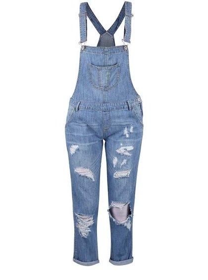 Svetlomodré rifľové nohavice s trakmi a roztrhaným efektom TALLY WEiJL
