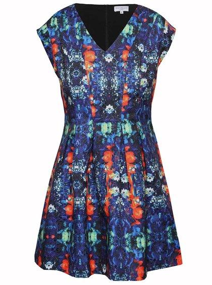 Oranžovo-modré vzorované šaty Wolf & Whistle