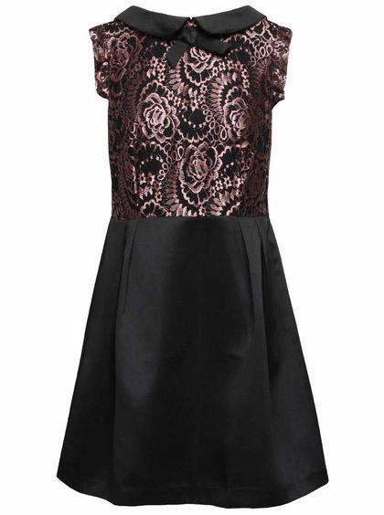 Čierne šaty s ružovými čipkovanými detailmi Wolf & Whistle