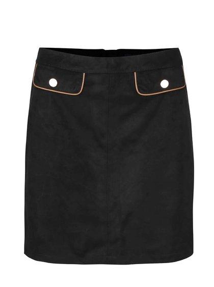 Černá sukně v semišové úpravě s falešnými kapsami Dorothy Perkins